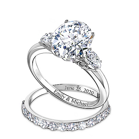 Brilliance Of Our Love Personalized Sterling Silver Bridal Ring Set Featuring Over 5 Carats Of Simulated Diamonds & Heart-Shaped