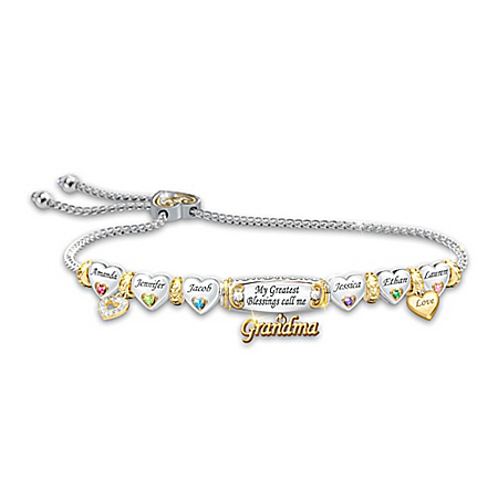 My Greatest Blessings Women's 3-Way Personalized Family Birthstone Bracelet With Endearing Nickname Charm & 18K Gold Plating – P