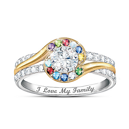 Real Love Of Family Women's Personalized Birthstone Ring Featuring A White Topaz Center Stone With 18K Gold-Plated Accents – Per
