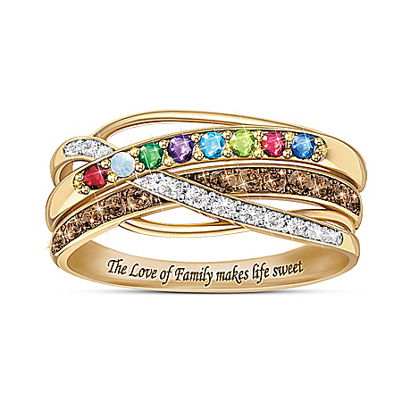 Sweet Life Women's 18K Gold-Plated Personalized Birthstone Ring Featuring Mocha & White Diamonds – Personalized Jewelry