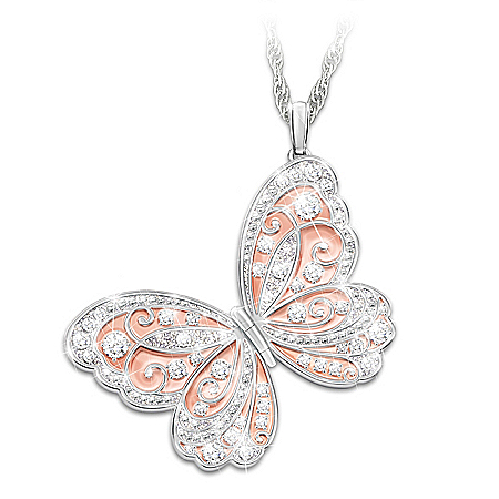 Spread Your Wings & Fly Personalized Granddaughter 18K Rose Gold-Plated Locket Pendant Necklace Featuring Butterfly Design & Ado