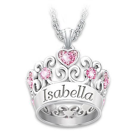 My Granddaughter, My Princess Personalized Sterling Silver-Plated Crown Pendant Necklace With 10 Pink Swarovski Crystals – Perso