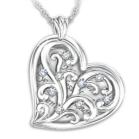 The Blessings Of Friendship Women's Personalized Heart-Shaped Pendant Necklace Featuring A Domed Scrollwork Filigree Design That