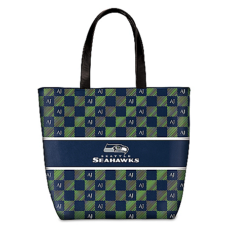 Seahawks Tote With Your Initials In A Designer Print