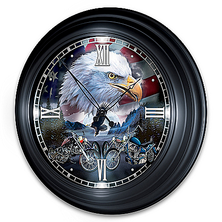 Time To Ride Illuminated Atomic Wall Clock With Biker Art