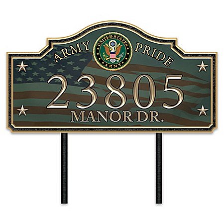 Army Pride Personalized Outdoor Address Sign