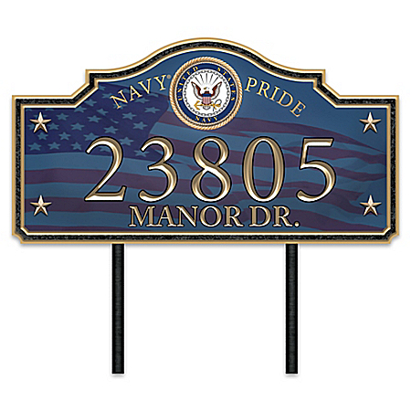 Navy Pride Personalized Outdoor Address Sign With Official Emblem