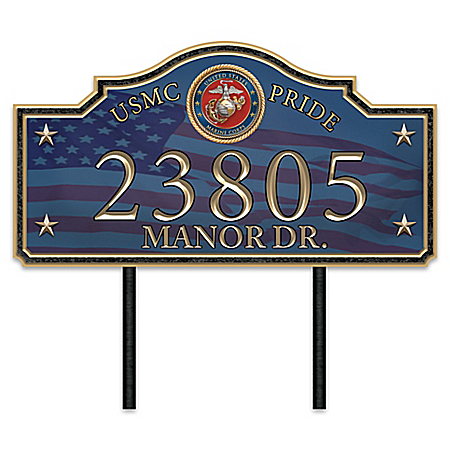 USMC Pride Personalized Outdoor Address Sign With Official Seal