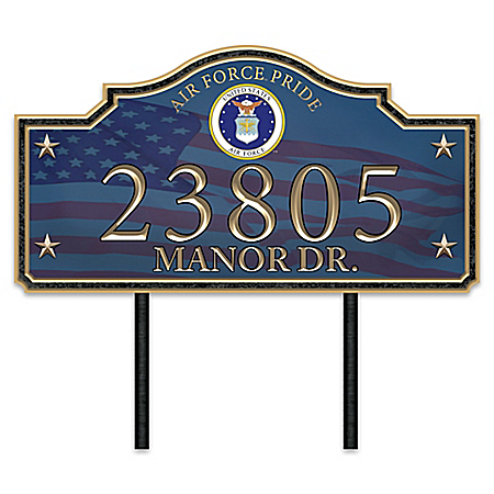 Air Force Pride Personalized Outdoor Address Sign With Official Seal