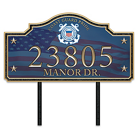 Coast Guard Pride Personalized Outdoor Address Sign