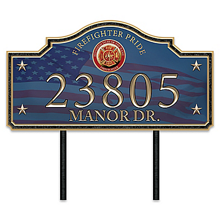 Proud Firefighter Family Personalized Outdoor Address Sign