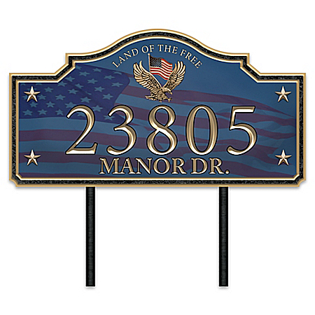 Home Of The Free Personalized Patriotic Outdoor Address Sign