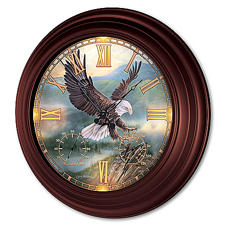 Larry Martin Eagle Art Illuminated Outdoor Atomic Wall Clock