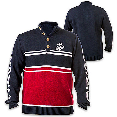 U.S. Marine Corps Pullover Sweater With Embroidered Emblem