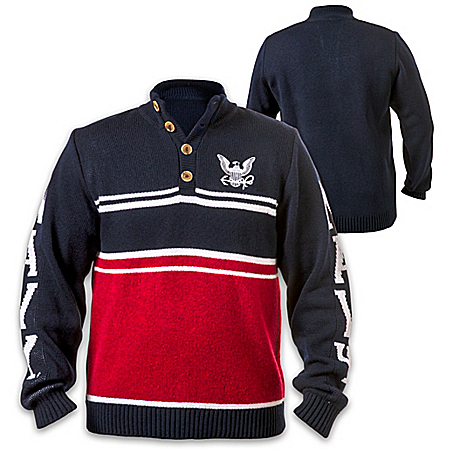 U.S. Navy Pullover Sweater With Embroidered Logo