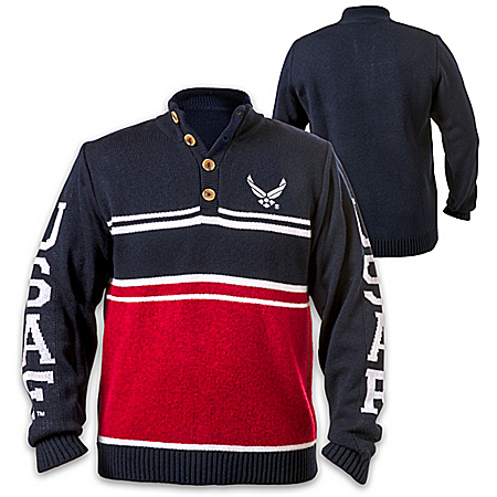 U.S. Air Force Pullover Sweater With Embroidered Emblem