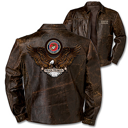 Wings Of Freedom USMC Pride Men's Distressed Leather Jacket In Brown