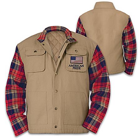 Patriotic Jacket With Cotton Flannel Collar And Sleeves