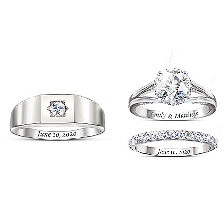 Our Love Is Written In The Stars Personalized Platinum Plated Wedding Ring Set Featuring Over 5 Carats Of Simulated Stones – Per