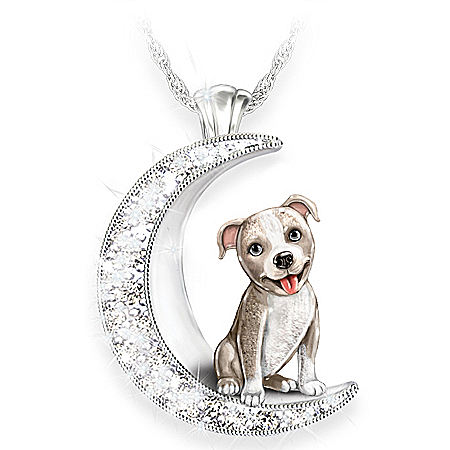 Pit Bull Pup Swarovski Crystal Moon Pendant Necklace