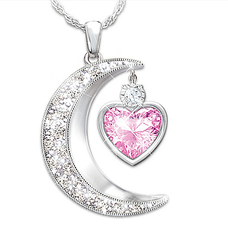 To The Moon And Back Crescent Moon-Shaped Personalized Granddaughter Crystal And Diamond Pendant Necklace – Personalized Jewelry