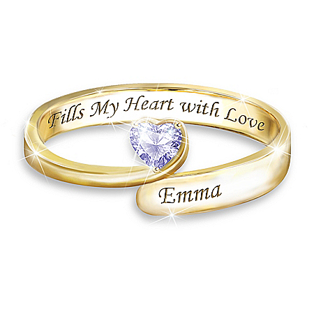 Forever In A Mother's Heart 18K Gold-Plated 2-Way Personalized Stacking Ring Customized With Heart-Shaped Crystal Birthstones &