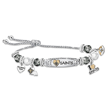 I Love My New Orleans Saints Women's Sterling Silver-Plated Personalized NFL Charm Bracelet – Personalized Jewelry
