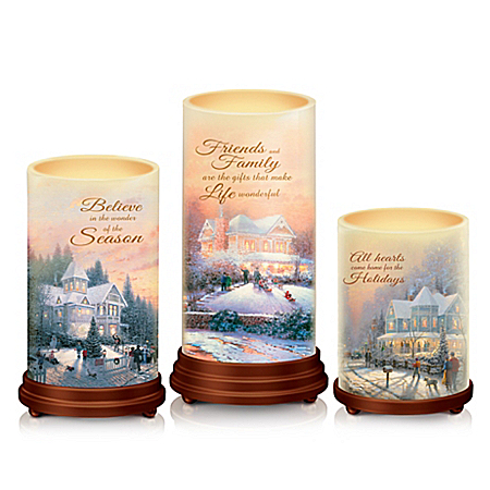 Thomas Kinkade Pillars Of Light Waxed Flameless Candle Set