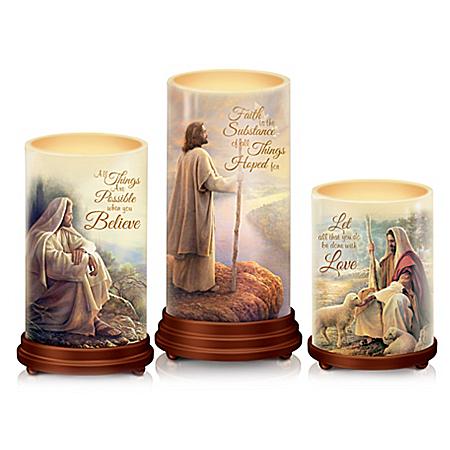 Pillars Of Faith Candle Set With Greg Olsen Biblical Art