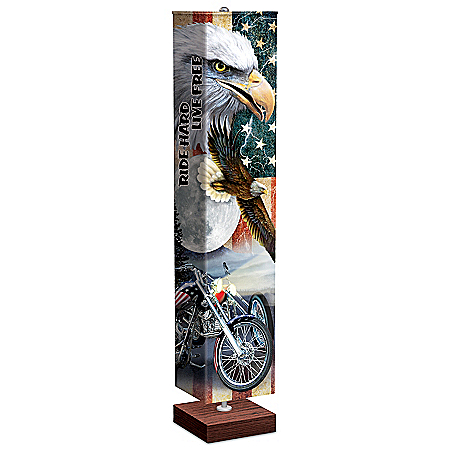 Ride Hard, Live Free Floor Lamp With Art On 4-Sided Shade