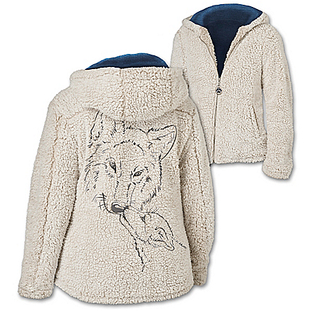Warmth Of The Wild Sherpa Jacket With Wolf Art