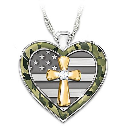 My Country, My Faith Women's Diamond Pendant Necklace