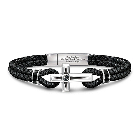 Prayer For My Grandson Leather Bracelet With Black Sapphire