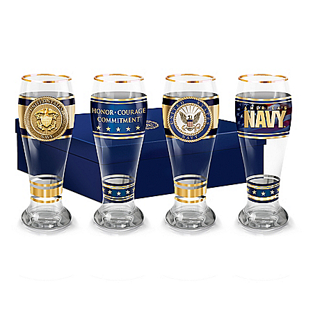 Navy Pride Four-Piece Pilsner Glass Set With 12K Gold Rims