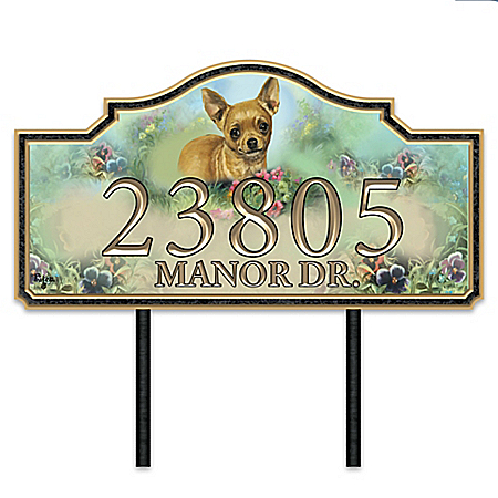 Warm Chihuahua Welcome Personalized Address Sign