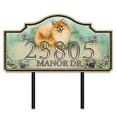 Warm Pomeranian Welcome Personalized Address Sign