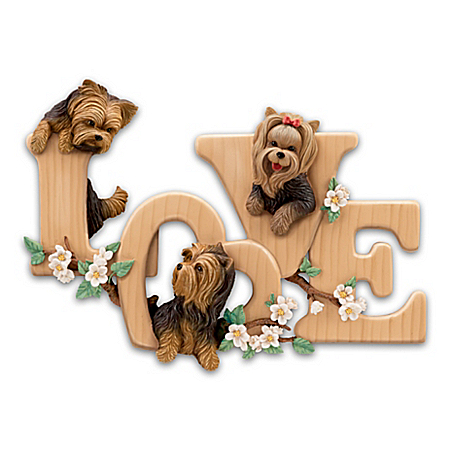Lovable Yorkies Sculptural Wall Decor Spells LOVE