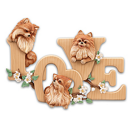 Lovable Pomeranians Sculptural Wall Decor Spells LOVE