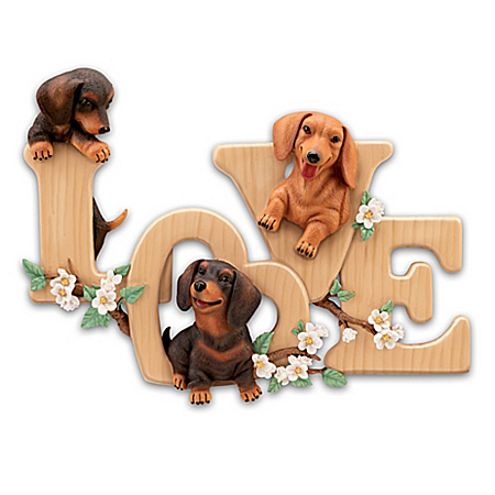 Lovable Dachshunds Sculptural Wall Decor Spells LOVE