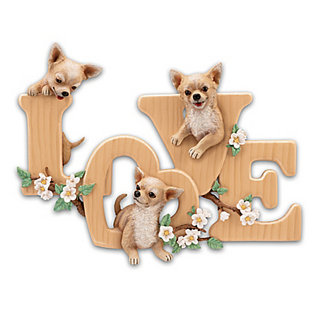 Lovable Chihuahuas Sculptural Wall Decor Spells LOVE