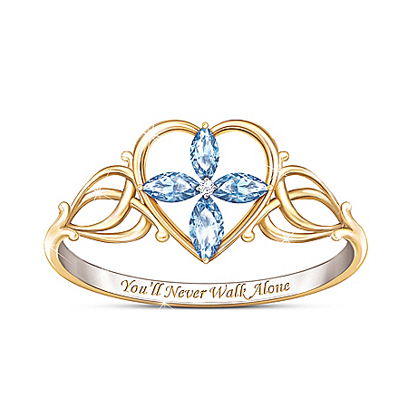 You'll Never Walk Alone Topaz And Diamond Cross Ring