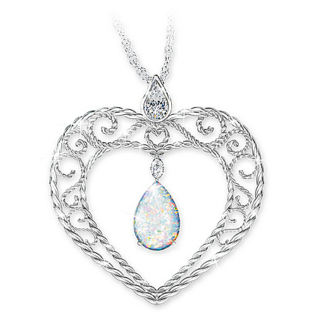 Husband Remembrance Pendant Necklace With Created Opal