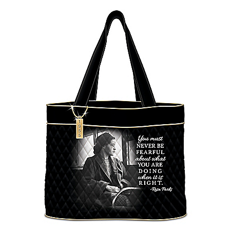 Rosa Parks Quilted Tote Bag With Inspirational Quote