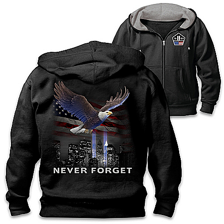 Never Forget Full-Zip Hoodie Featuring Applique Patch