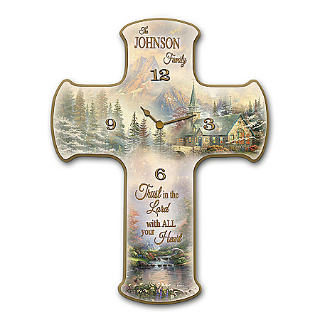 Thomas Kinkade Personalized Wooden Cross-Shaped Wall Clock