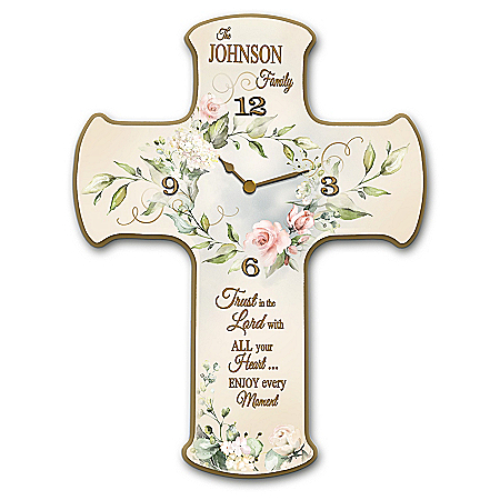 Beautiful Moments Personalized Cross-Shaped Wall Clock