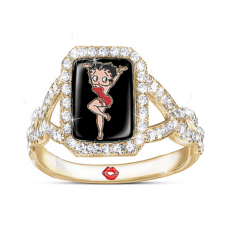 Betty Boop Simulated Diamond Ring With 18K Gold-Plating