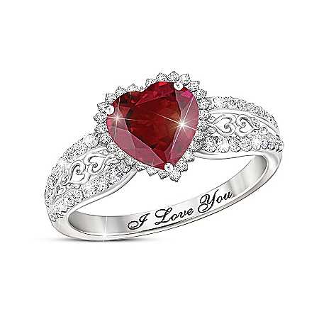 With All My Heart Women's Ruby And White Topaz Ring