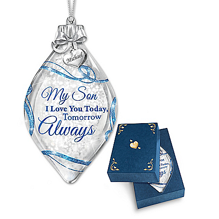 Illuminated Glass Ornament Personalized For Your Son