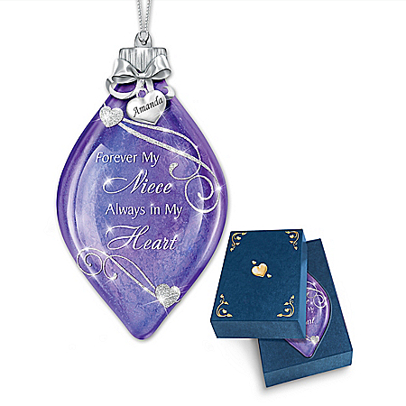 Illuminated Glass Ornament Personalized For Niece